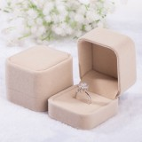 3 PCS Wedding Jewelry Accessories Squre Velvet Jewelry Box Jewelry Display Case Gift Boxes Ring Earrings Box (Khaki)