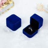 3 PCS Wedding Jewelry Accessories Squre Velvet Jewelry Box Jewelry Display Case Gift Boxes Ring Earrings Box (Blue)
