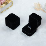 3 PCS Wedding Jewelry Accessories Squre Velvet Jewelry Box Jewelry Display Case Gift Boxes Ring Earrings Box (Black)