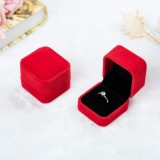 3 PCS Wedding Jewelry Accessories Squre Velvet Jewelry Box Jewelry Display Case Gift Boxes Ring Earrings Box (Red)