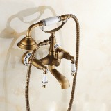 Antique Brass Wall Mounted Bathroom Tub Faucet Dual Ceramics Handles Telephone Style Hand Shower, Specification: Blue and White Telephone Shower