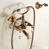 Antique Brass Wall Mounted Bathroom Tub Faucet Dual Ceramics Handles Telephone Style Hand Shower, Specification: Telephone Shower + Fixed Seat