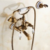 Antique Brass Wall Mounted Bathroom Tub Faucet Dual Ceramics Handles Telephone Style Hand Shower, Specification: Telephone Shower + Blue and White Fixed Seat