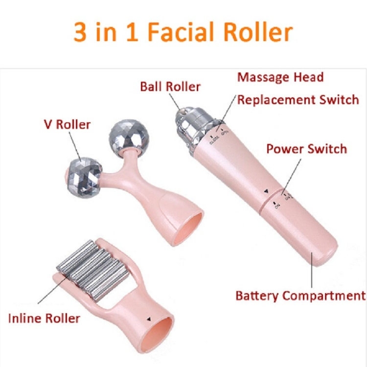 3 In 1 Portable Electric Eye Massager Double Chin Face Lift Body Neck Massage Roller Anti Wrinkle 3D Facial Massage Machine (Pink)