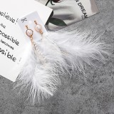 Fashion Sweet Feather Simulated Pearls Tassel Rhinestone Chains Long Dangle Earring for Women Jewelry (White)