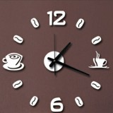 ISHOWTIENDA Fashion Acrylic DIY Coffee Cup Self Adhesive Interior Wall Creative Decoration Clock Mute Clock Stickers Muraux Wall Clock (White)