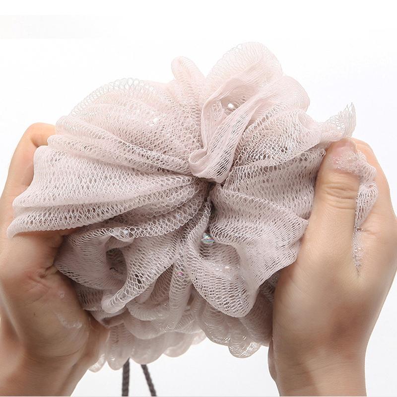Two-sided Bath Ball Bath Tubs Bath Towel Scrubber Body Exfoliating Shower Ball (Light yellow)