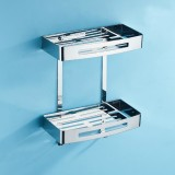 Stainless Steel Soap Holder Dish Bathroom Rack, Style: Square Double Layer
