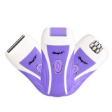 3 In 1 Rechargeable Lady Epilator Women Electric Trimmer Hair Removal Depilador Shaver Razor Callus Dead Skin Remover Foot Care (Purplr)