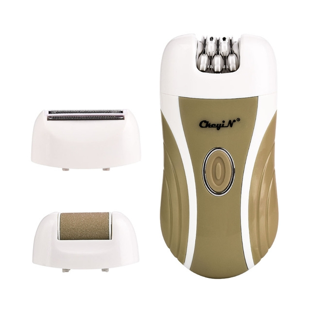 3 In 1 Rechargeable Lady Epilator Women Electric Trimmer Hair Removal Depilador Shaver Razor Callus Dead Skin Remover Foot Care (Brown)