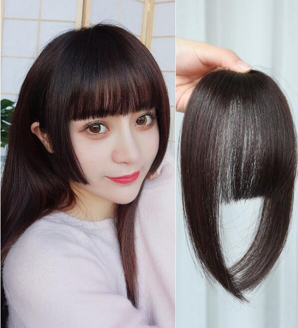 Women Fake Fringe Clip In Bangs Hair Extensions with High Temperature Synthetic Fiber (Dark Brown)