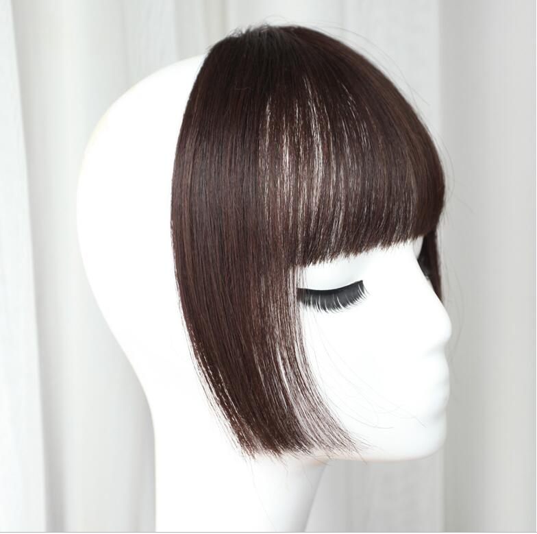 Women Fake Fringe Clip In Bangs Hair Extensions with High Temperature Synthetic Fiber (Black)