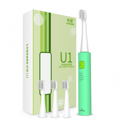 Lansung Rechargeable Sonic Electric Toothbrush Ultrasonic Whitening Teeth Vibrator with 4 Brush Heads (Green)