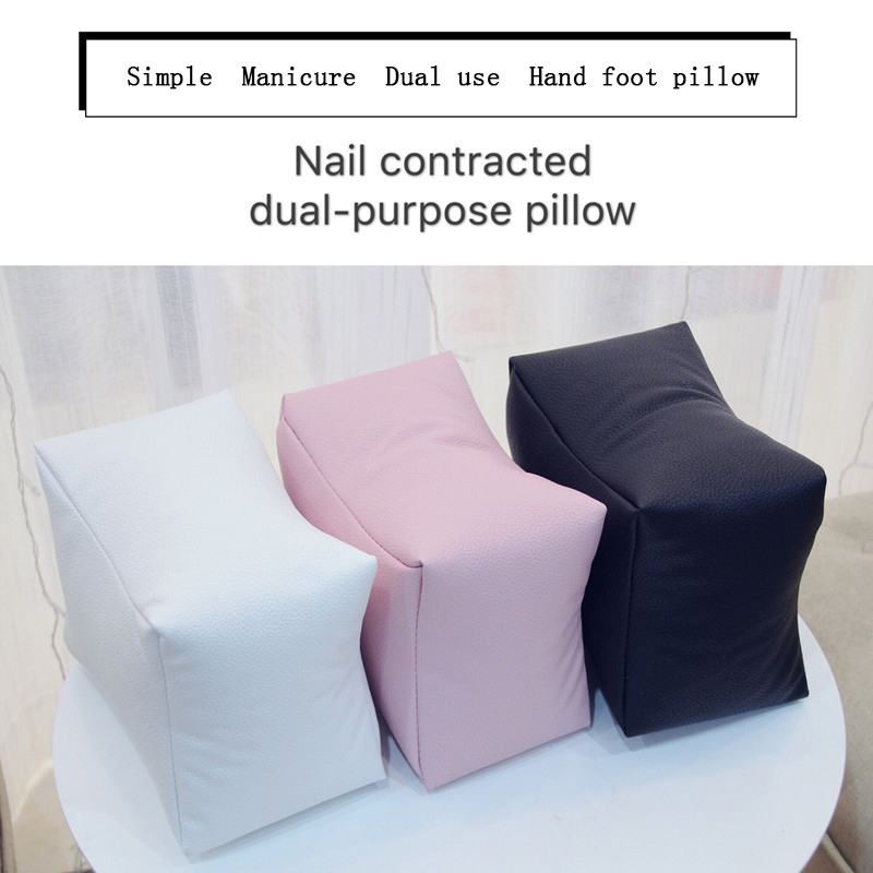 Nail Art Hand Rest Cushion Pillow Soft PU Leather Foot Hand Holder Manicure Nail Art Equipment (Black)