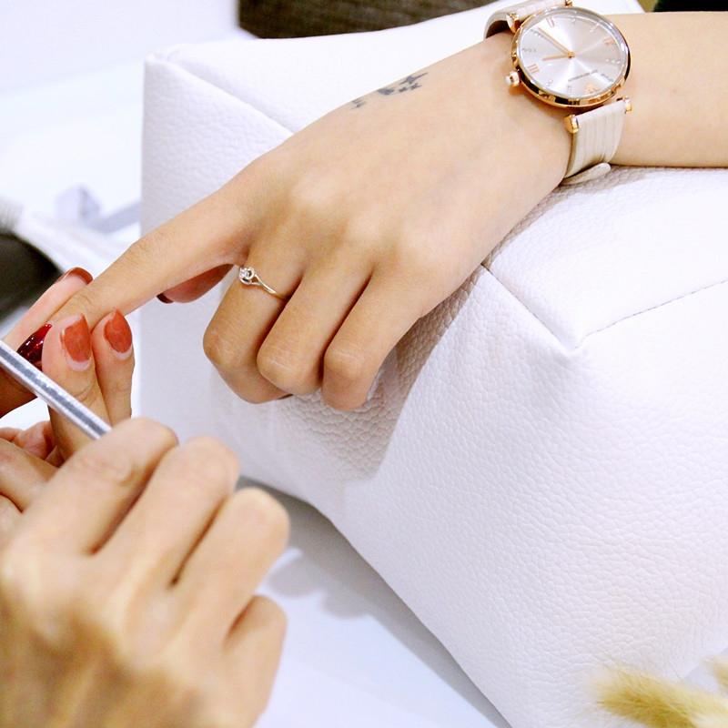 Nail Art Hand Rest Cushion Pillow Soft PU Leather Foot Hand Holder Manicure Nail Art Equipment (Pink)