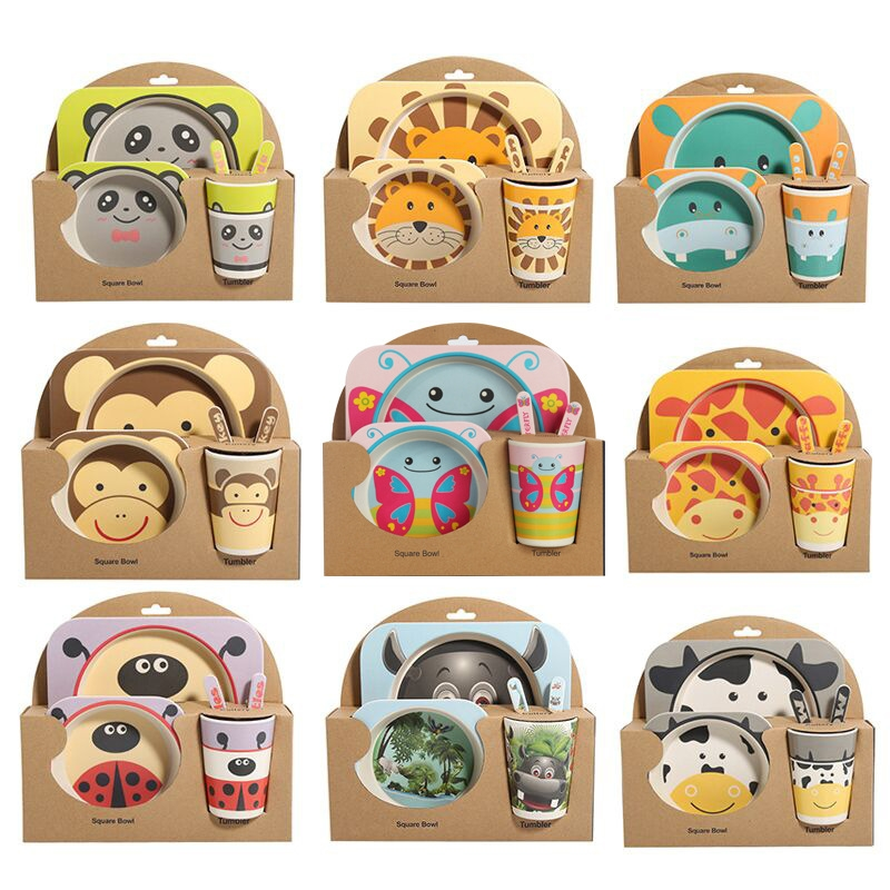 Baby Dish Tableware Set Cartoon Fork Feeding Dishes for Kids Utensils Natural Bamboo Fiber Bowl With Cup Spoon Plate (Monkey)