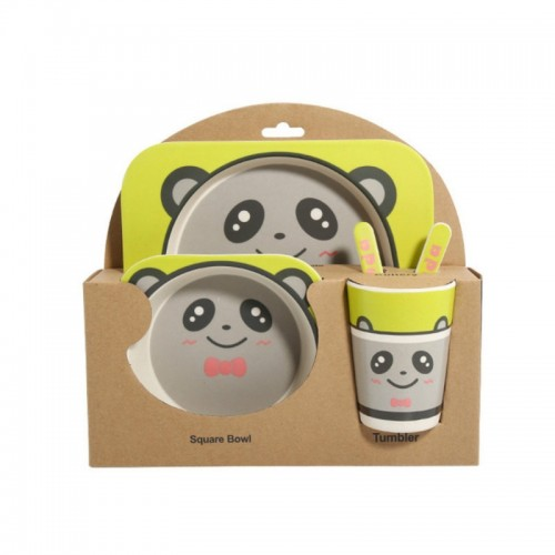 Baby Dish Tableware Set Cartoon Fork Feeding Dishes for Kids Utensils Natural Bamboo Fiber Bowl With Cup Spoon Plate (Panda)