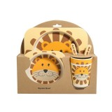 Baby Dish Tableware Set Cartoon Fork Feeding Dishes for Kids Utensils Natural Bamboo Fiber Bowl With Cup Spoon Plate (Lion)