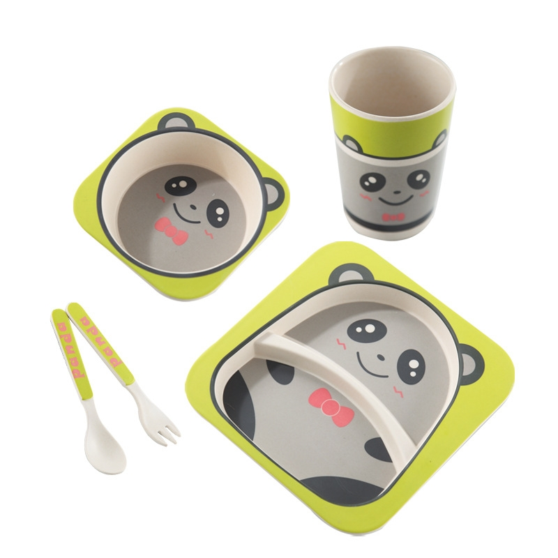 Baby Dish Tableware Set Cartoon Fork Feeding Dishes for Kids Utensils Natural Bamboo Fiber Bowl With Cup Spoon Plate (Frog)