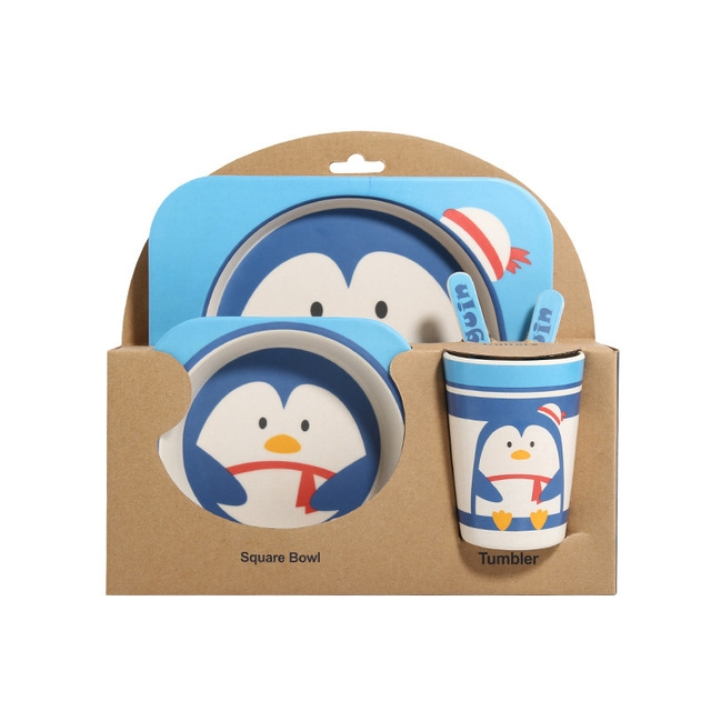 Baby Dish Tableware Set Cartoon Fork Feeding Dishes for Kids Utensils Natural Bamboo Fiber Bowl With Cup Spoon Plate (Penguin)