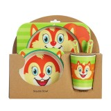 Baby Dish Tableware Set Cartoon Fork Feeding Dishes for Kids Utensils Natural Bamboo Fiber Bowl With Cup Spoon Plate (Little Squirrel)