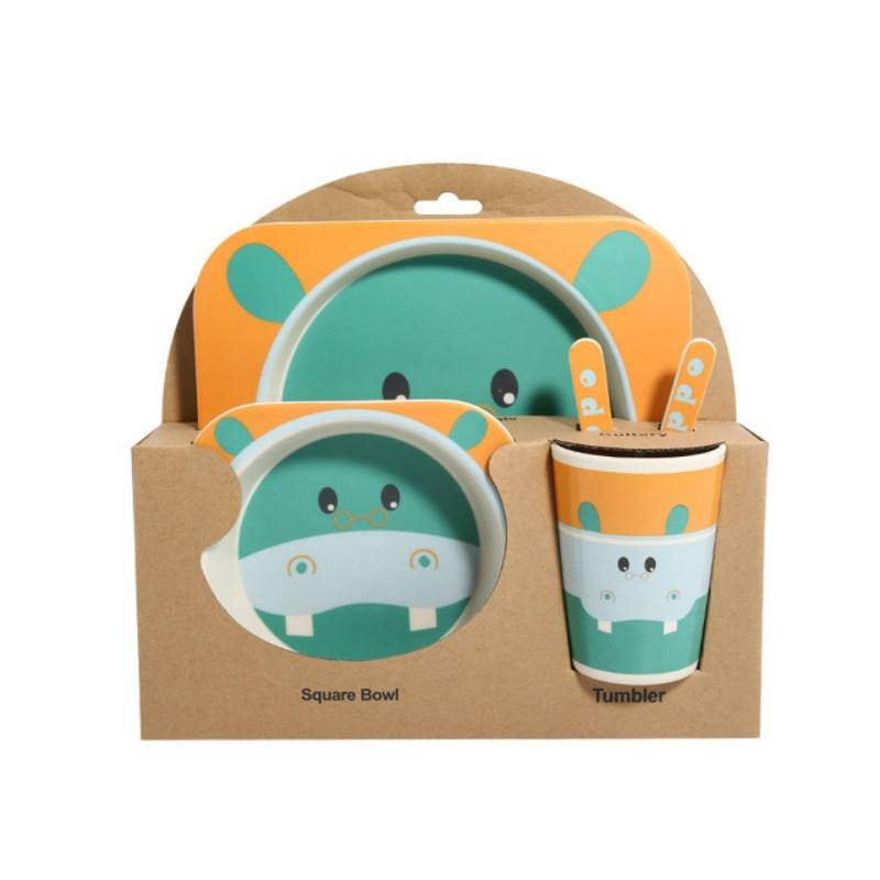 Baby Dish Tableware Set Cartoon Fork Feeding Dishes for Kids Utensils Natural Bamboo Fiber Bowl With Cup Spoon Plate (Sika Deer)