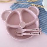 3 PCS/Set Baby Bowl+Spoon+Fork Feeding Food Tableware Cartoon Bear Kids Dishes Eating Dinnerware (Pink Set)