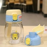 350ml Sippy Cup with Strap Baby Feeding Water Drink Leak Proof Bottle with Straw Baby Learning Drinking Tritan Bebe Copos (Blue Yellow Cover)