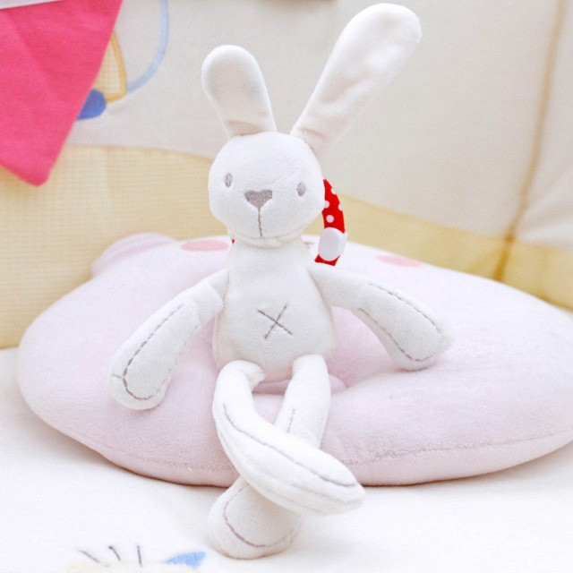 Rabbit Bear Soft Plush Toy for Infant Bed Pram With Hanging Ring (Rabbit)