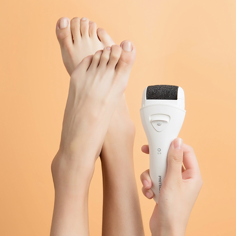 Pritech Electric Foot Callus Remover Pedicure Machine Dead Skin Peel Revomal Foot Care Tool Rechargeable File For Heels (White)