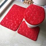 2 Sets Three-Piece Set Flannel Anti-Slip Kitchen Bath Toilet Rug Mat Washable Carpet (Blue Cobblestone)