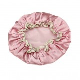 Lovely Thick Women Satin Colorful Double Waterproof Hair Cover Bathing Cap (Pink)