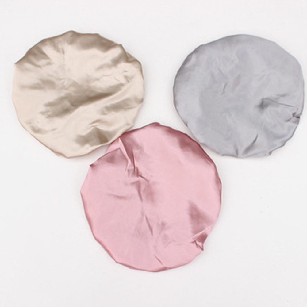 Lovely Thick Women Satin Colorful Double Waterproof Hair Cover Bathing Cap (Grey)