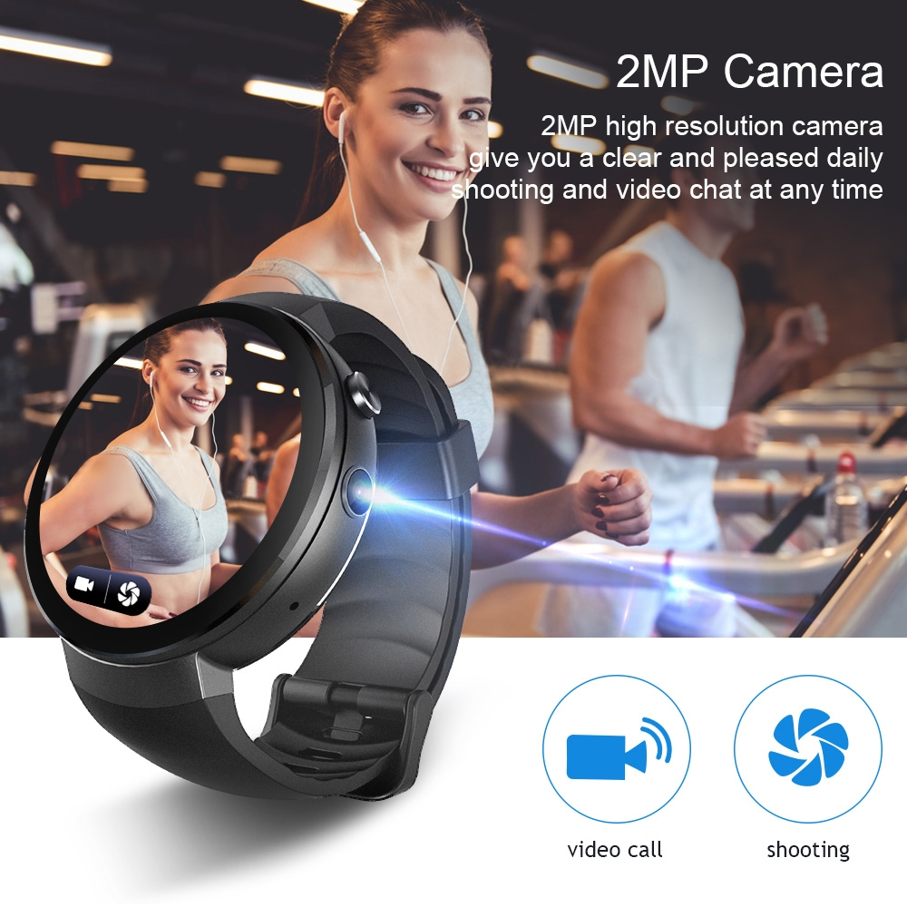 LEMFO LEM7 Smart Watch Android 7.0 Smartwatch LTE 4G Smart Watch Phone Heart Rate 1GB + 16GB Memory with Camera Translation tool (Silver Gray)