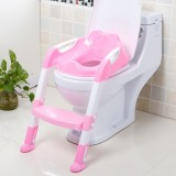 Baby Potty Toilet Chair Training Seat With Adjustable Ladder Infant Anti Slip Folding Toilet Trainer Safety Seats (Pink)