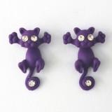 1 Pair Fashion Classic Kitten Animal Jewelry Cute Cat Stud Earrings for Girls (Purple)