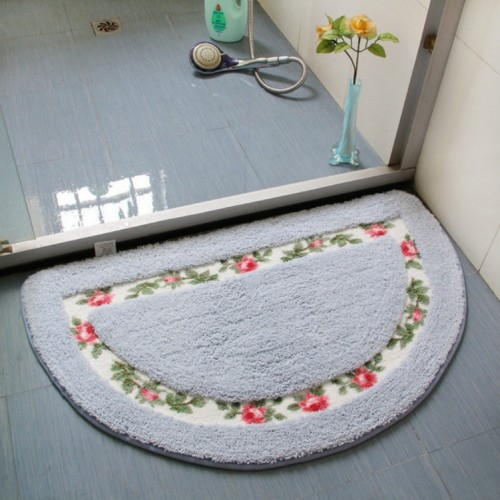Non Slip Mat Rug Carpets Living Room Bedroom Floor Mat Rug, Size: 40X60CM (Semicircle Blue)