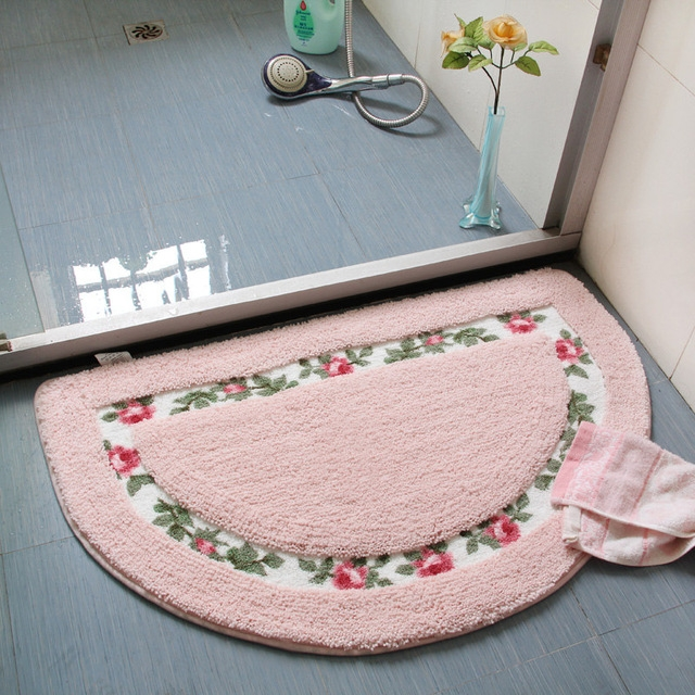 Non Slip Mat Rug Carpets Living Room Bedroom Floor Mat Rug, Size: 40X60CM (Semicircle Pink)