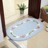 Non Slip Mat Rug Carpets Living Room Bedroom Floor Mat Rug, Size: 40X60CM (Oval Blue)