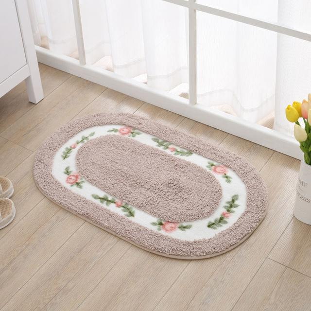 Non Slip Mat Rug Carpets Living Room Bedroom Floor Mat Rug, Size: 40X60CM (Oval Camel)