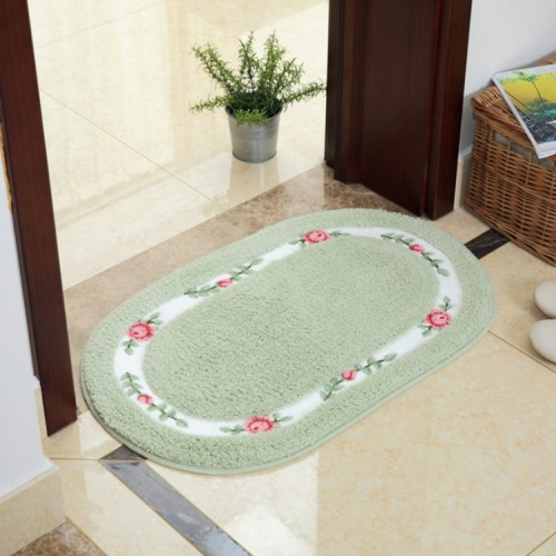 Non Slip Mat Rug Carpets Living Room Bedroom Floor Mat Rug, Size: 40X60CM (Oval Green)