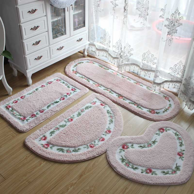 Non Slip Mat Rug Carpets Living Room Bedroom Floor Mat Rug, Size: 40X60CM (Rectangle Pink)