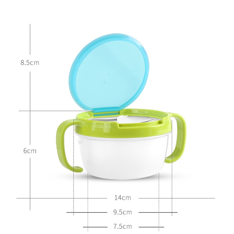 Baby Snacks Bowl Children Kids Food Storage Dishes Anti Spill 360 Rotate Baby Solid Feeding Plate Tableware Baby Feeding Stuff (Green)