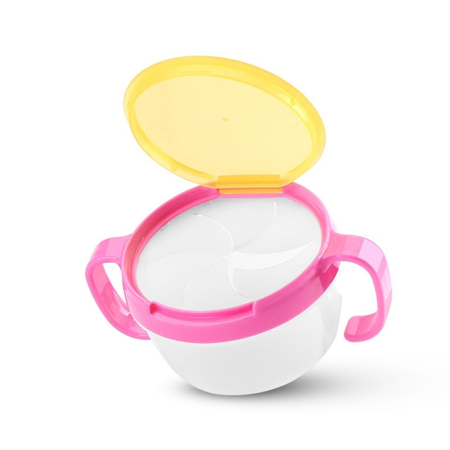 Baby Snacks Bowl Children Kids Food Storage Dishes Anti Spill 360 Rotate Baby Solid Feeding Plate Tableware Baby Feeding Stuff (Pink)