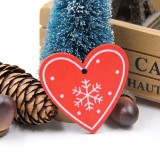 3 PCS DIY Wooden Crafts Pendants Ornaments For Christmas Party Xmas Tree Ornaments (Red Heart 02)