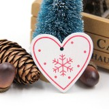 3 PCS DIY Wooden Crafts Pendants Ornaments For Christmas Party Xmas Tree Ornaments (Red Heart)