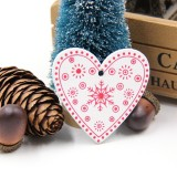 3 PCS DIY Wooden Crafts Pendants Ornaments For Christmas Party Xmas Tree Ornaments (Red Heart 01)