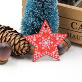 3 PCS DIY Wooden Crafts Pendants Ornaments For Christmas Party Xmas Tree Ornaments (Star)