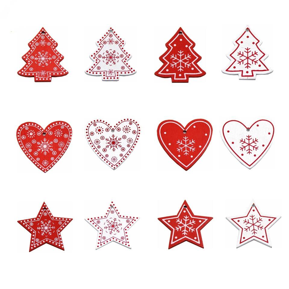 3 PCS DIY Wooden Crafts Pendants Ornaments For Christmas Party Xmas Tree Ornaments (Star)