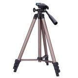 WT3130 Protable Camera Tripod Stand with Rocker Arm for DSLR Camera Camcorder (Brown)
